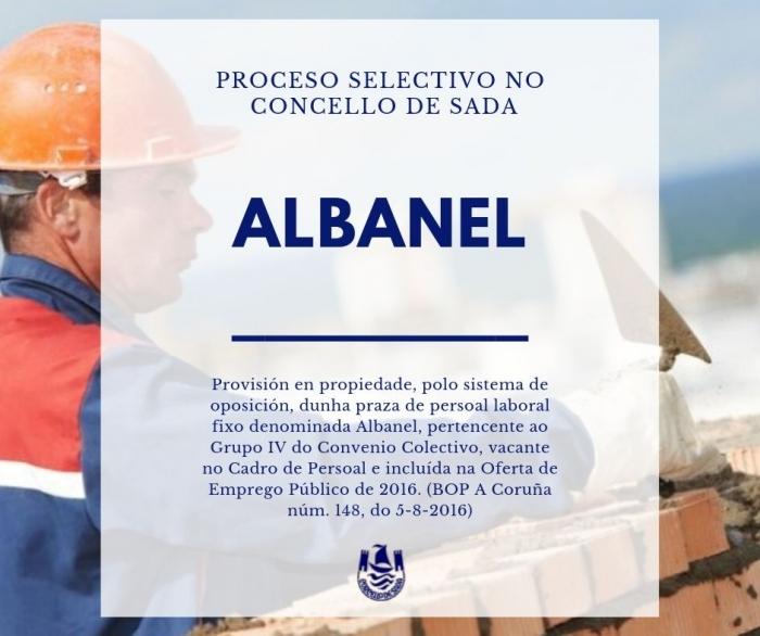 CONVOCATORIA PARA A PROVISIÓN POLO SISTEMA DE OPOSICIÓN DUNHA PRAZA DE ALBANEL