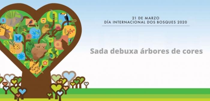 As nenas e nenos de Sada debuxan árboles de cores no Día Internacional dos Bosques
