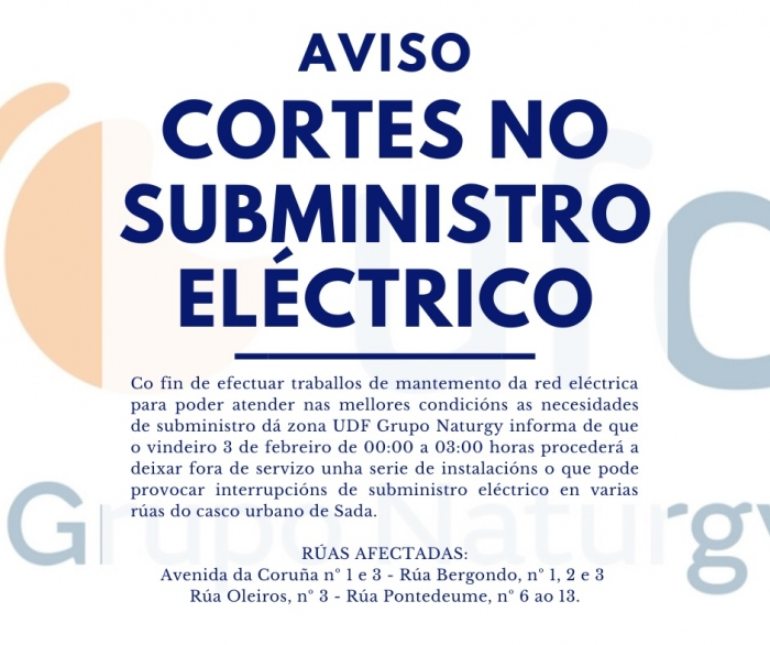 AVISO DE CORTES NO SUBMINISTRO ELÉCTRICO EN SADA