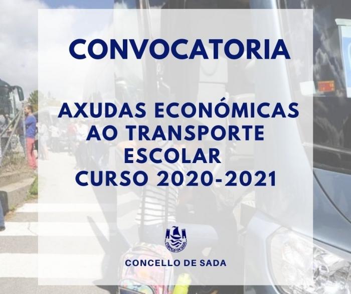 AXUDAS ECONÓMICAS AO TRANSPORTE ESCOLAR CURSO 2020-2021