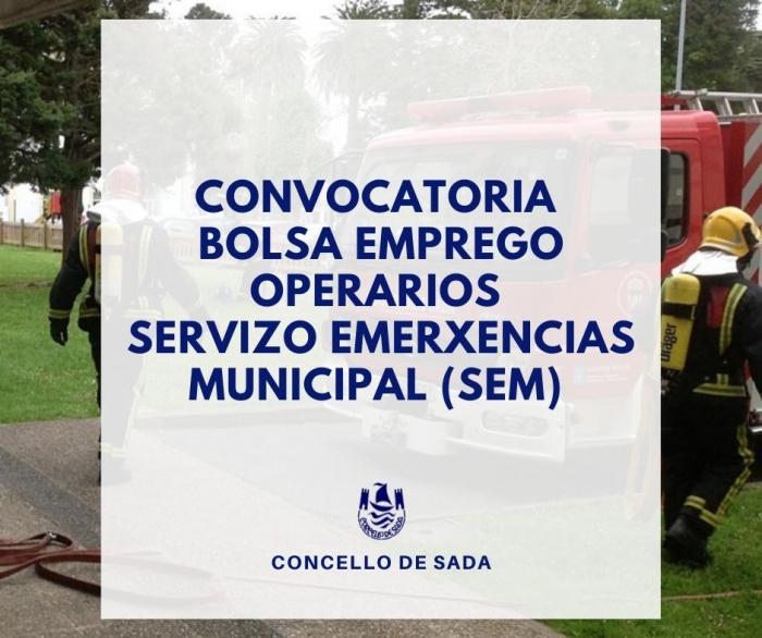 BOLSA EMPREGO OPERARIOS SERVIZO EMERXENCIAS MUNICIPAL (SEM)