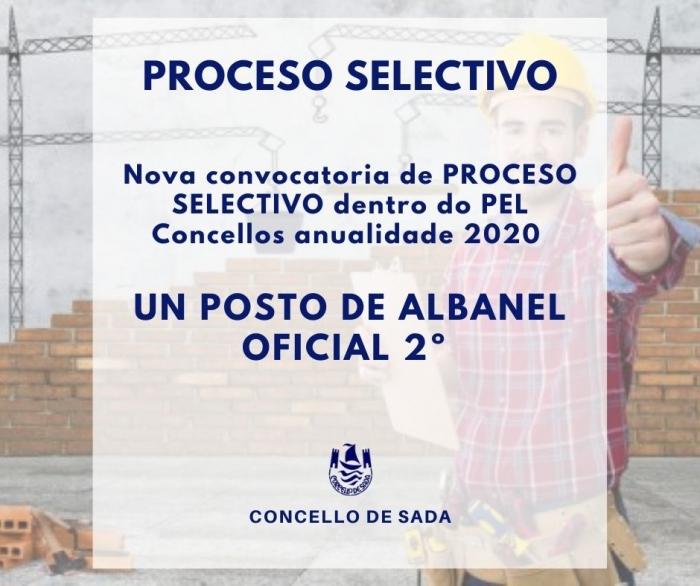 CONTRATACIÓN DE UN POSTO DE OFICIAL DE 2ª-ALBANEL (PEL) - SEGUNDA CONVOCATORIA