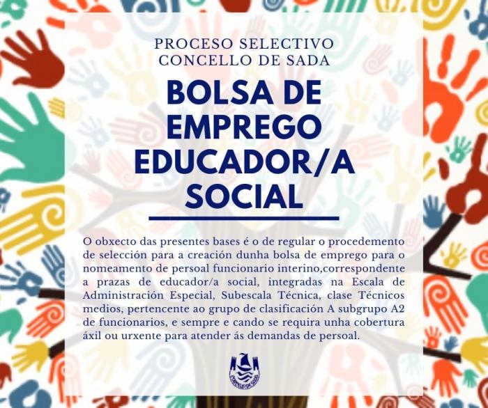 CONVOCATORIA BOLSA DE EMPREGO INTERINOS EDUCADOR/A SOCIAL