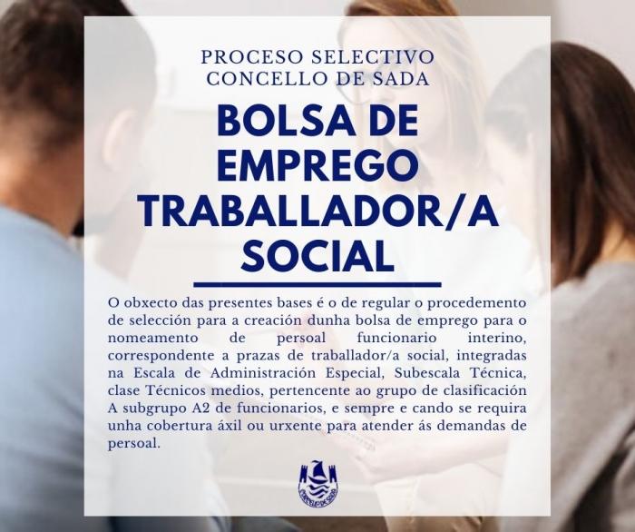 CONVOCATORIA BOLSA DE EMPREGO INTERINOS TRABALLADOR/A SOCIAL
