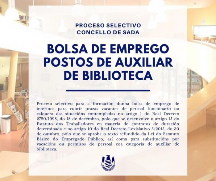 CONVOCATORIA DE BOLSA DE EMPREGO PARA POSTOS DE AUXILIAR DE BIBLIOTECA