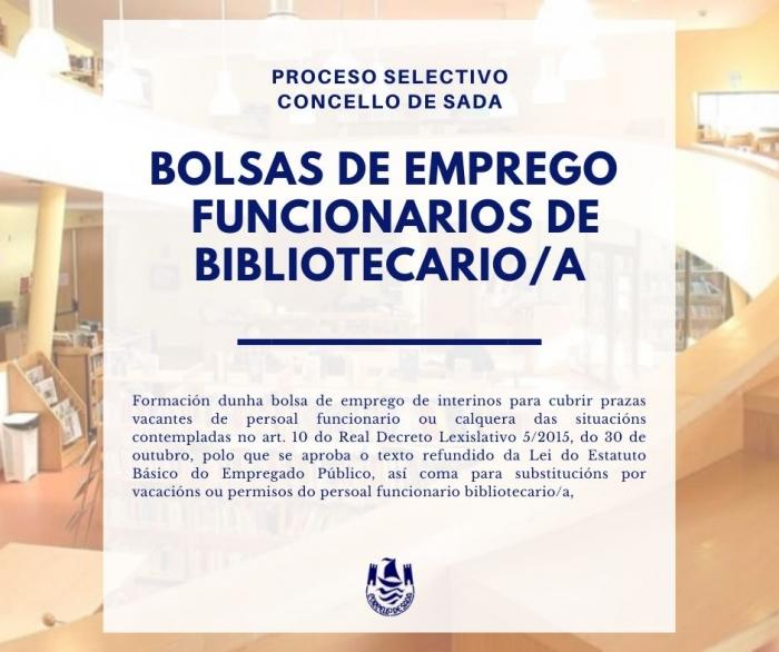 CONVOCATORIA DE BOLSAS DE EMPREGO CON CARÁCTER INTERINO PARA POSTOS DE FUNCIONARIOS/AS DE BIBLIOTECARIO/A