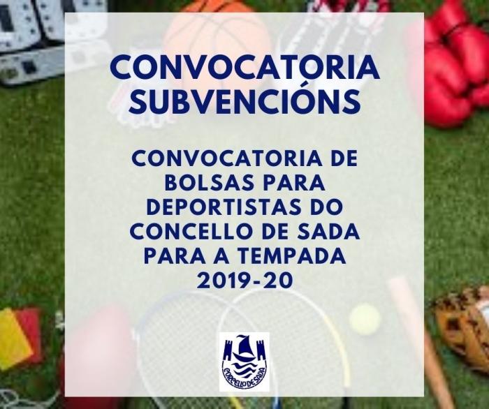 CONVOCATORIA DE BOLSAS PARA DEPORTISTAS DO CONCELLO DE SADA PARA A TEMPADA 2019-20