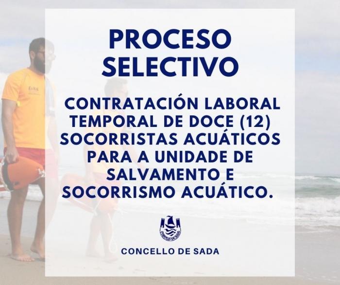 CONVOCATORIA DO PROCESO SELECTIVO PARA A CONTRATACIÓN DE DOCE SOCORRISTAS ACUÁTICOS