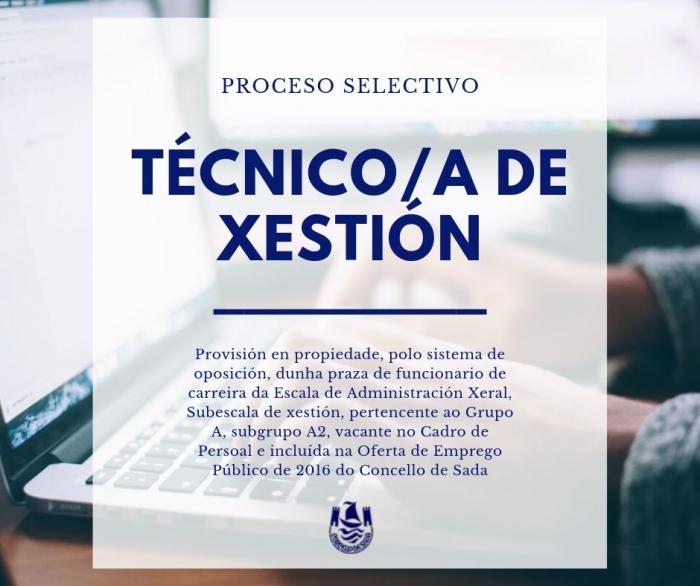 CONVOCATORIA PARA A PROVISIÓN EN PROPIEDADE DUNHA PRAZA DE TÉCNICO/A DE XESTIÓN