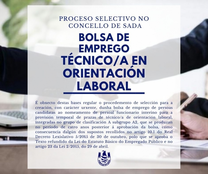 CONVOCATORIA PS FORMACIÓN BOLSA DE EMPREGO PARA PERSOAL FUNCIONARIO INTERINO TÉCNICO/A EN ORIENTACIÓN LABORAL