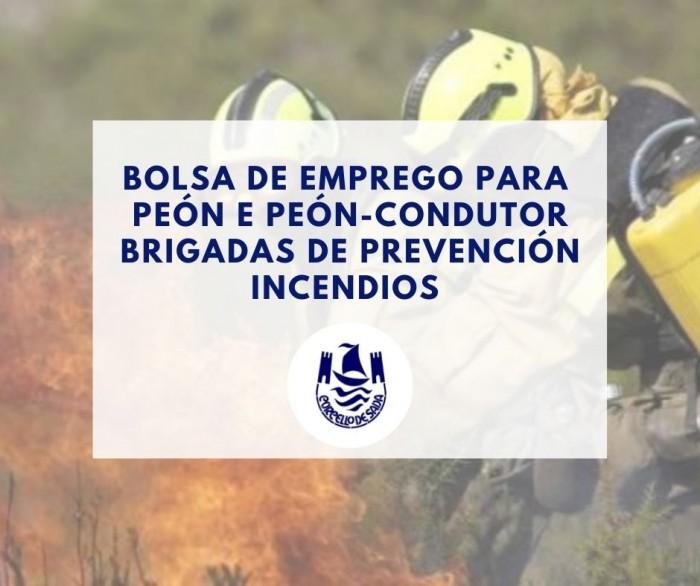 Bolsa de emprego para peón e peón-condutor de brigadas de prevención incendios