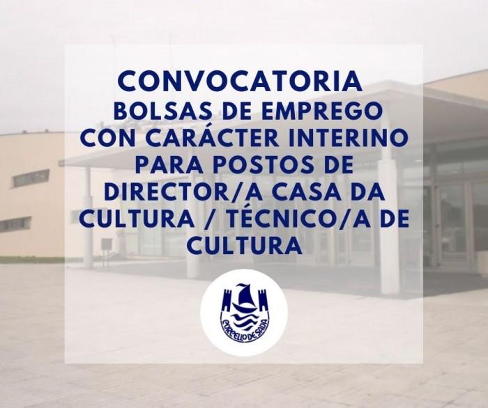 Convocatoria bolsas de emprego con carácter interino para postos de director/a casa da cultura técnico/a de cultura