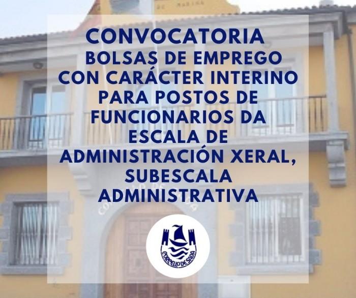 Convocatoria bolsas de emprego postos de funcionarios da escala de administración xeral subescala administrativa