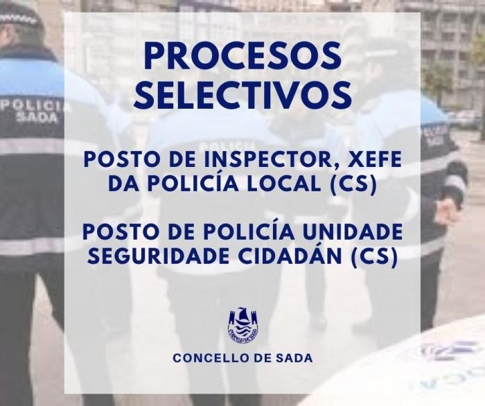 PROCESOS SELECTIVOS COMISIÓN SERVIZOS - UN INSPECTOR, XEFE POLICÍA LOCAL - UN POLICÍA USC